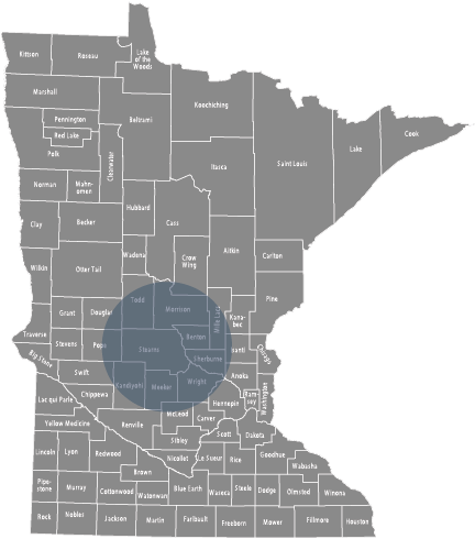 Service Area Map: Minnesota map with a circle over central Minnesota